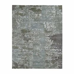 8'x10' Gray Abstract Design Wool And Pure Silk Hand Knotted Oriental Rug R47587