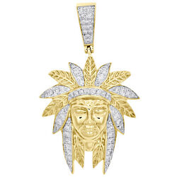 10k Yellow Gold Real Diamond Native American Indian 1.95 Mens Pave Charm 3/4 Ct