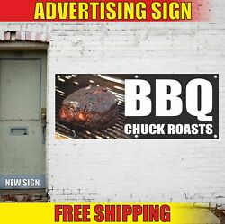 Bbq Chuck Roasts Advertising Banner Vinyl Mesh Decal Sign Grill Smoked Steak Hot