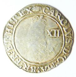 Nice 17th Century Silver Shilling Of King Charles Ist London 1636 - 1638 A.d.