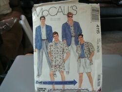 Mccalland039s 4115 Menand039s Unlined Jacket Shirts Pants Or Shorts Pattern - Size 34/36
