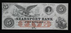 Searsport Bank Maine 5 Remainder Obsolete Currency Note Me-2490-25 Choice Cu