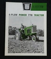 1962 Oliver 4 Plow Power 770 Tractor Row-crop Orchard Wheatland Brochure Nice