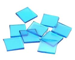 500 Sky Blue Cathedral Smooth 1/2 Squares | Fusible 96 Coe | Glass Mosaic Tile