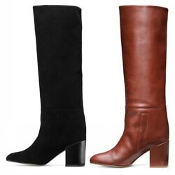 New Women Round Toe Block Heel Mid Calf Knee Riding Boots Shoes Large Size 34-46