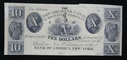 New Orleans Canal And Banking Company 10 Unissued Remainder Note La 1570-33 9q9q