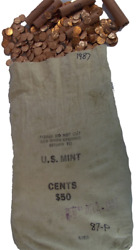1987-p Lincoln Cent Bu Bag 5000 Coins Free Shipping