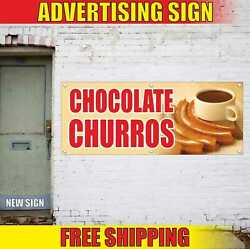 Chocolate Churros Advertising Banner Vinyl Mesh Decal Sign Spain Snack Candy Bar
