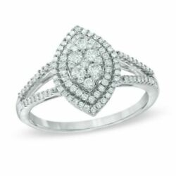 1/2 Ct.diamond Double Frame Marquise Cluster Engagement Ring In 10k White Gold