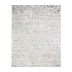 8'x10' Ivory Pure Silk Fluffy Collection Hand Knotted Oriental Rug R47692