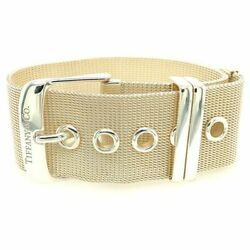 And Co Sterling Silver Somerset Mesh Wide Buckle Bracelet