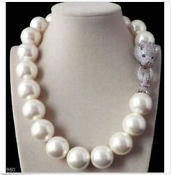 Rare 18mm south sea round white pearl necklace 18inch 925silver