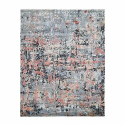 7and0399x10and0391 Abstract Design Wool And Silk Hand Knotted Modern Oriental Rug R47778