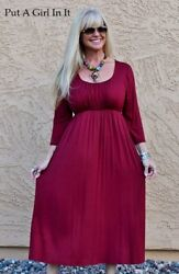 NEW CUTE PLUS SIZE SOLID BURGUNDY EMPIRE BUST LONG MIDI DRESS 1X 2X 3X USA