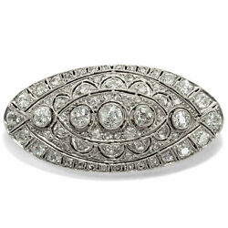 Um 1928: Antique Art Déco Platinum & Gold Brooch with Diamonds 260 CT Diamonds