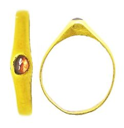 Beautiful 13th Century Medieval Gold And Ruby Stirrup Ring Wearable Size 5 1/2