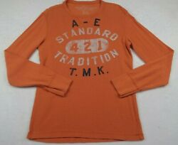 American Eagle Mens Athletic Fit Ls Crew Neck Orange Graphic Thermal Sweater M
