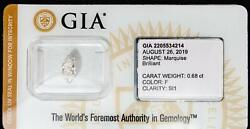 Gia Certified Marquise Diamond Sealed Loose .68ct Color F Clarity Si1 I.d. Prot.