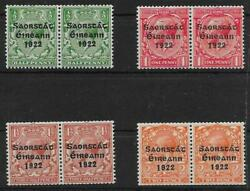 IRELAND SG67a70a 1923 COIL STAMPS SET WITH LONG 1 VAR MTD MINT