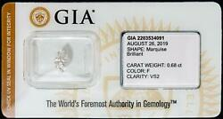 Gia Certified Marquise Diamond Sealed Loose .68ct Color F Clarity Vs2 I.d. Prot.