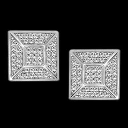 Menand039s/womenand039s 1/2 Ct Genuine Diamond 10k White Gold Square Shape Stud Earrings