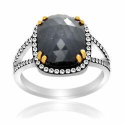Heavy 4.75 Ct Black Rough And White Diamond 18k Gold And Sterling Solitaire Ring 7