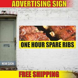 One Hour Spare Ribs Advertising Banner Vinyl Mesh Decal Sign Bbq Grill Pork Best