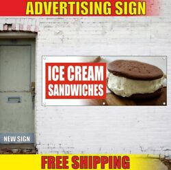 Ice Cream Sandwiches Advertising Banner Vinyl Mesh Decal Sign Dairy Tasty Candy