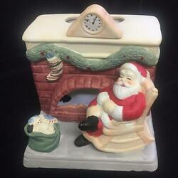 Vintage Party Lite Gifts Tea Light Holder Ceramic Santa Sleeping at Fireplace
