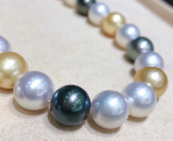 18andldquo13-16mm Natural South Sea Genuine White Black Gold Pearl Necklace