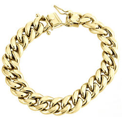 Mens 10k Yellow Gold 3d Hollow Miami Cuban Link Bracelet 14mm Box Clasp 9 Inches