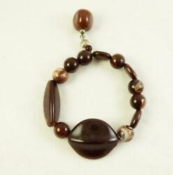 Vintage Brown Marbled Lucite Bead With Dangle Stretch Bracelet