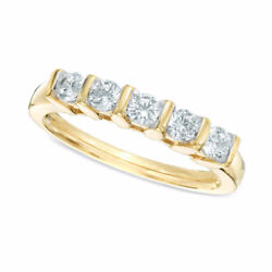 10k Solid Gold 1/2ct Round Cut Diamond Five Stone Channel-set Wedding Band Ring