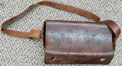 Collectible Hand-tooled Hand Decorated Craft Leather Carry, All From Ca 1975
