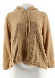 C. Wonder Cable Knit Pullover Hooded Sweater Fringe Hem Camel XS NEW A281445