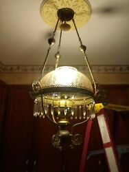 Vintage Rare English Duplex Co Hanging Oil Chandelier With Shade Prisms