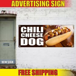 Dog Advertising Banner Vinyl Sign Flag Chili Cheese Fries Hot Cup Food Carnival