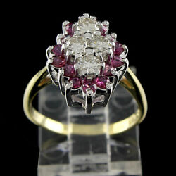 Estate 2 Carat Round Cut Diamond With Ruby 14k Solid Yellow Gold Cluster Ring