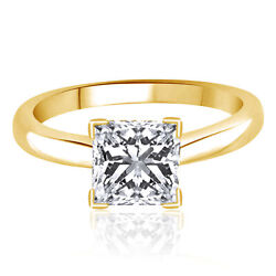 3.0 Ct Princess Cut Engagement Ring 14k Yellow Gold Bridal Jewelry Solitaire