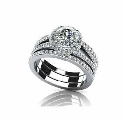 2.55 Ct Round Simulated Diamond 14k Solid Gold Engagement And Wedding Rings
