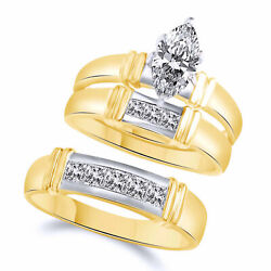 14k Two Tone Gold Marquise Engagement Wedding His And Hers Trio Ring Set 1.5 Ct