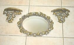 Partylite Antique Golden Oval Leaf Mirror With Matching 2 Shelves / Sconces