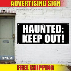 Haunted Keep Out Advertising Banner Vinyl Sign Flag House Halloween Thanksgiving