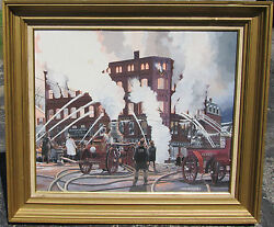 Arch Mcdonnell Original Painting White's Opera House Fire 1920 Concord NH