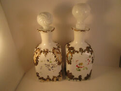 Vintage Pair Of Milk Glass Decanter Bottles Scroll Dithridge With Stoppers
