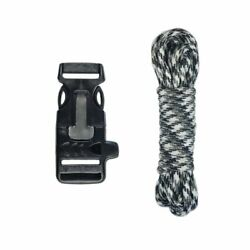 Paracord Survival Kit With Utility Buckle, Fire Starter, And Whistle. 45 Colors