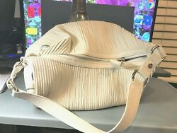 Unusual Design Creamy White Hobo Satchel Bag Leather Zipper Close ELLIOTT LUCCA