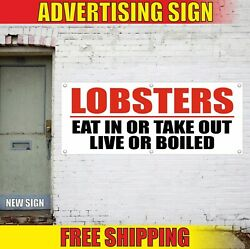 Lobsters Banner Advertising Vinyl Sign Flag Eat In Or Take Out Live Or Boiled