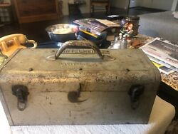 """Vintage Industrial Metal Tool Box Fold Over Lid With Tray 16"""" X 7"""" X 7"""" Duplex"""