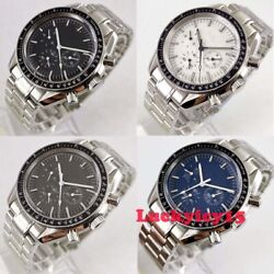 Luxury 40mm Multifunction Automatic Menand039s Watch Arched Glass Solid Bracelet Date